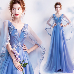 Evening dress prom gown show blue dinner annual meeting stage show show host dress
