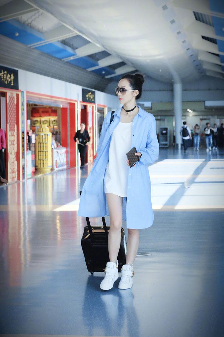 韩雪明星同款蓝色长款袖子衬衫,春夏装新款长袖蝴蝶结袖