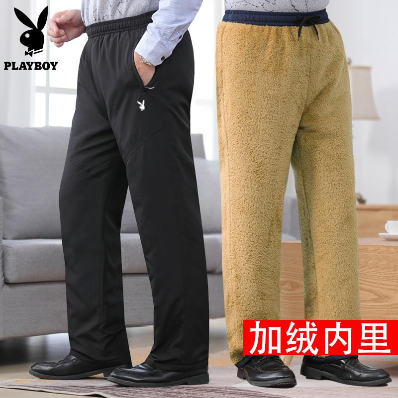 花花公子中老年外穿棉裤男士冬季加绒加厚东北保暖爸爸装休闲外裤