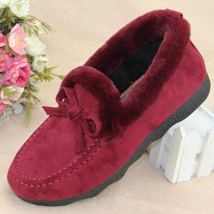 中老年妈妈老北京棉鞋女冬一脚蹬布鞋加绒鞋子2018新款老人奶奶鞋
