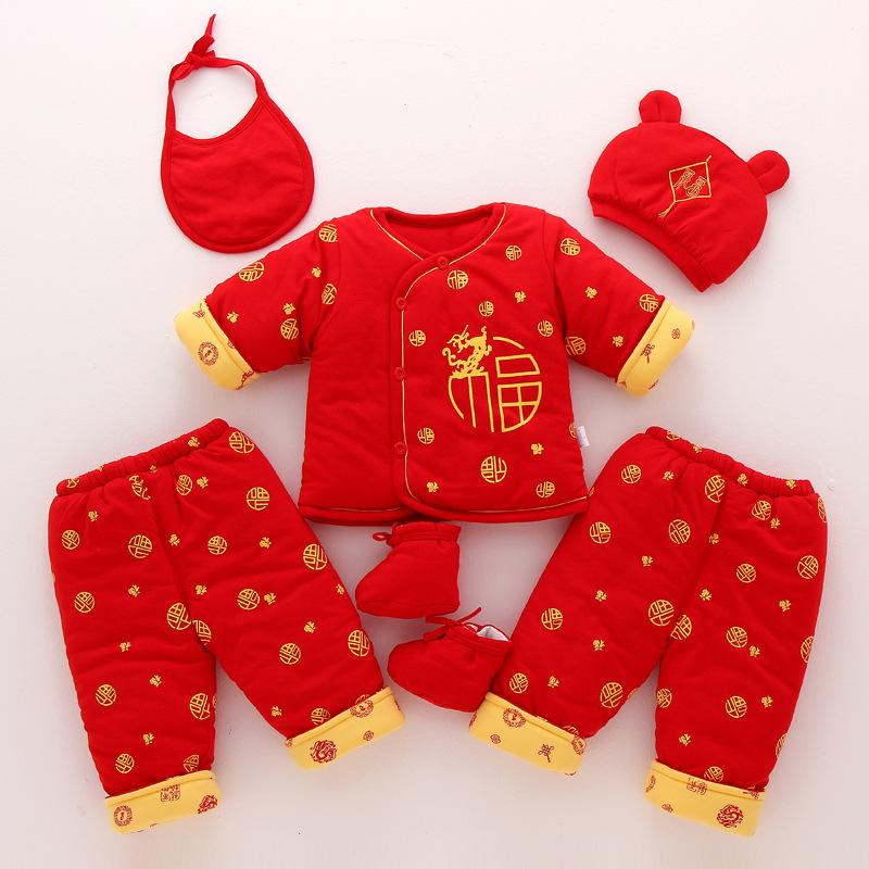19冬款新生儿0-1岁唐装棉服宝宝纯棉6福字婴幼儿加厚a唐装套装件套