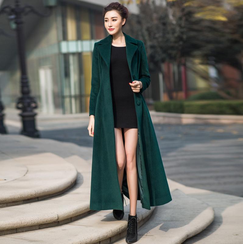 收腰2018秋冬装新款韩版修身外套大衣女中长款厚羊毛妈妈女毛呢装