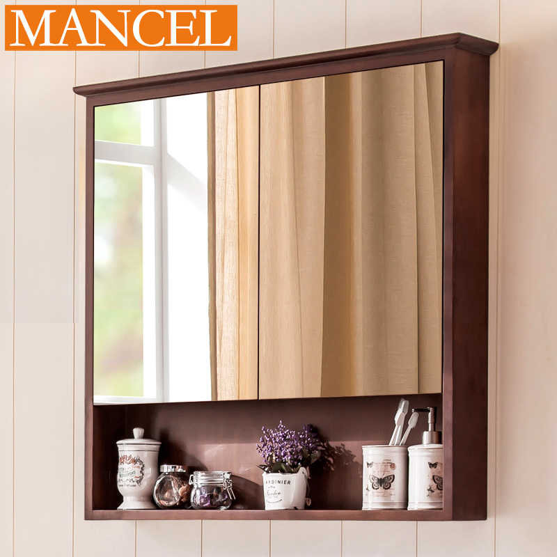 american bathroom mirror cabinet mirror box solid wood bathroom wall mounted bathroom bathroom toilet mirror - Wall Mounted Bathroom Cabinet