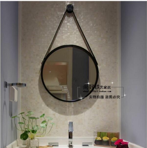 北欧洗手间镜子圆形挂镜挂墙浴室镜化妆镜壁挂装饰卫生间大圆镜子