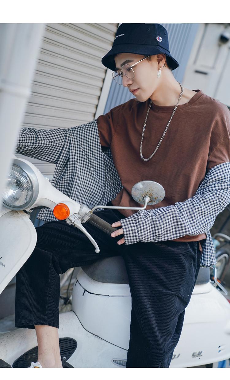 2018 mùa xuân mới cotton vòng cổ hoang dã dài tay T-Shirt nam xu hướng Hàn Quốc phiên bản của thoải mái đáy áo loose quần áo áo polo
