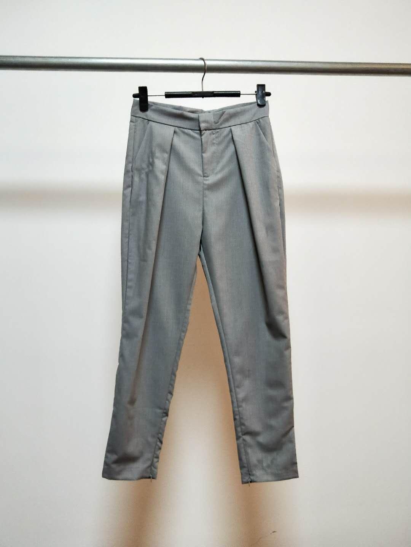 2018春装新款韩版时髦小腿围拉链开叉铅笔裤显瘦九分女裤E12