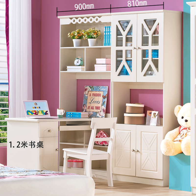Corner desktop computer desk with glass door bookcase combination adult  bedroom desk bookshelf integrated telescopic writing desk
