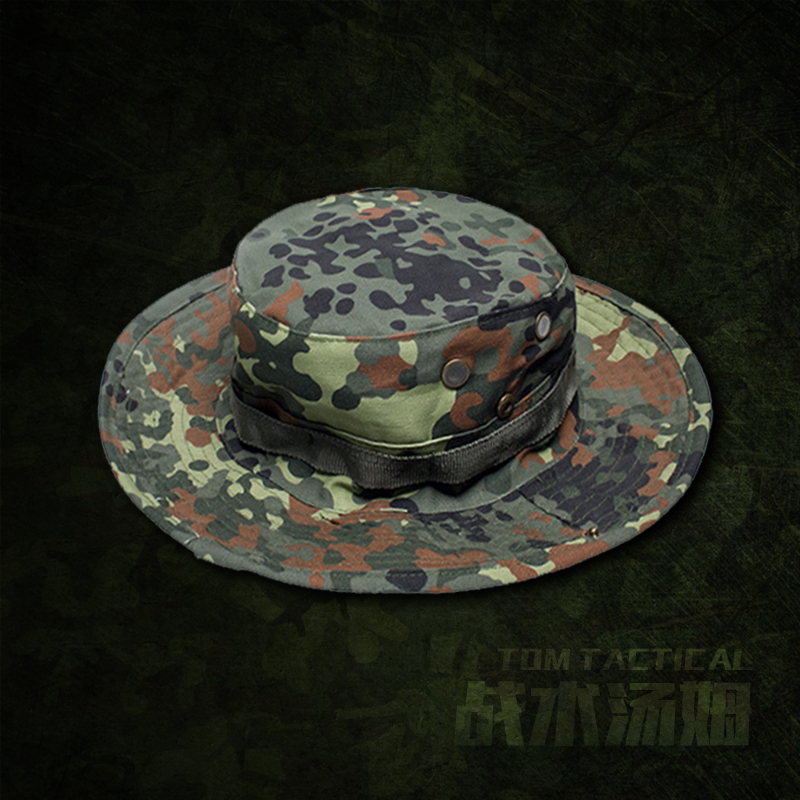 c3cb17f96bd Military fans pennies flecktarn Tactical Boonie Hat homemade engraved German  plaque round cap