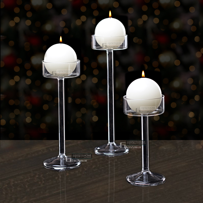 Glass Candlestick European Romantic Candlelight Dinner High Candle Holder Wedding Birthday Cup Hotel Bar