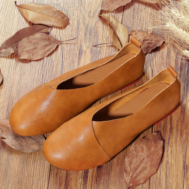 春秋新款原创复古皮鞋手工文艺森系软底单鞋平底圆头浅口软女鞋女