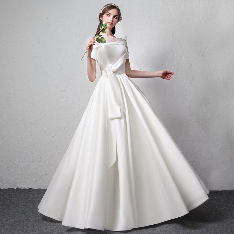 USD 283.57] Satin wedding dress 2018 new Winter Bride Wedding White ...