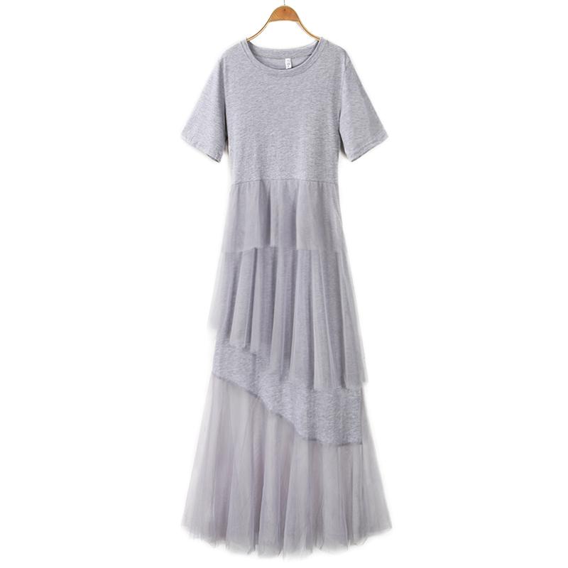 Phụ nữ mới mùa hè 2020 khâu lưới ngắn tay cổ tròn giữa váy dài quá gối - Váy eo cao
