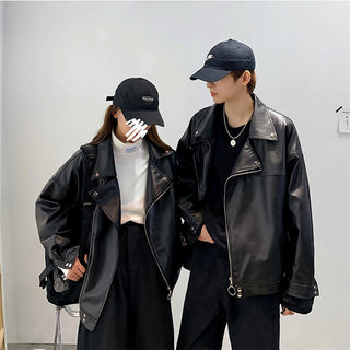 Couple ins 2020 leather jacket male and female students spring and autumn lapel Korean locomotive loose large size trendy jacket