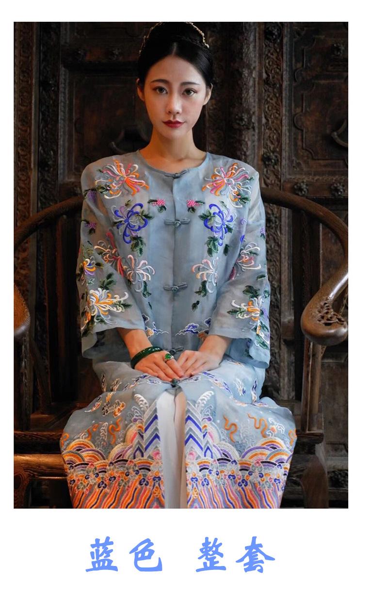 刘嘉玲长版女装真丝刺绣民族风洋装女士精品復古气质春夏款风衣详细照片