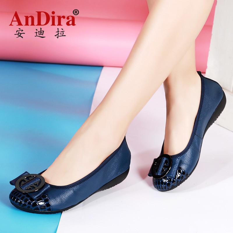 安迪拉大码平跟软底真皮女鞋休闲牛皮女单鞋妈妈鞋瓢鞋孕妇鞋船鞋