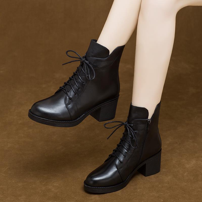 【全牛皮】真皮中跟短靴秋冬女靴马丁靴防水台厚底机车靴切尔西靴
