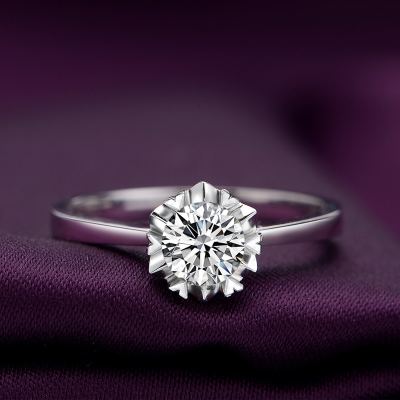 1 карат белый золото свадебное Предложите бриллиантовое кольцо женское 18K золото бриллиантовое кольцо обручальное кольцо платина для влюбленной пары Настроить кольцо оригинал