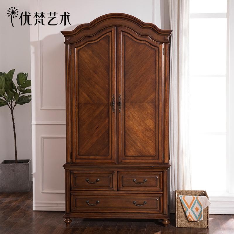 優梵藝術Rhine美式大衣柜成品對開門木質立柜2門簡約衣櫥臥室家具