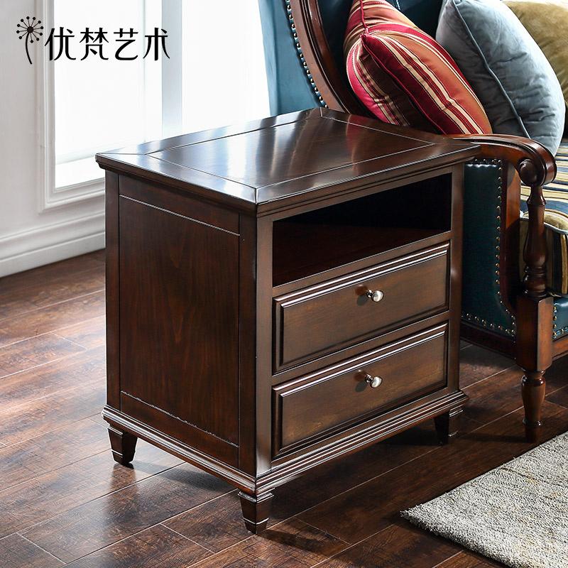 優梵藝術Carpa美式迷你小床頭柜儲物收納小戶型可移動床邊小柜子