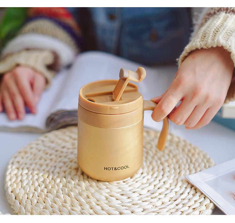 咖啡杯可携式保温杯带把手柄男女学生简约清新韩办公室杯子带盖子水杯详细照片
