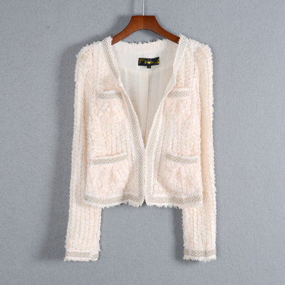 Foreign trade tail single spring and autumn new women's wild Slim short section long-sleeved beaded trend temperament jacket coat