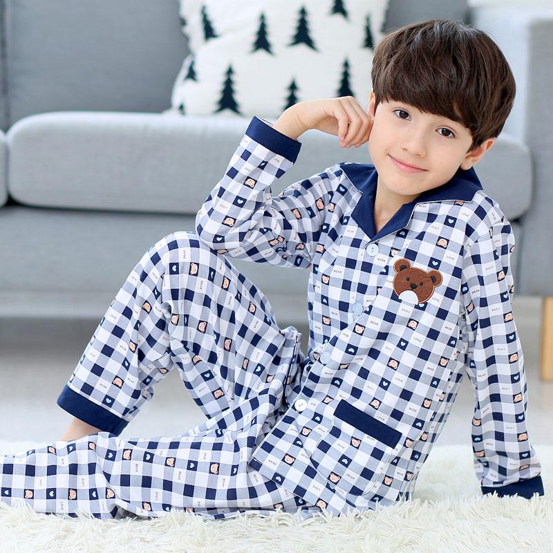 儿童睡衣长袖纯棉秋冬季加厚款男童装男孩小孩子宝宝中大童家居服