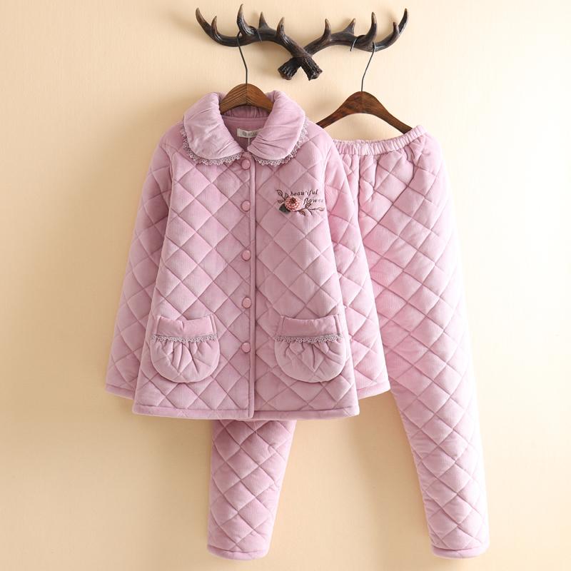 品牌水晶绒夹棉睡衣女冬加绒加厚中老年妈妈款花边素雅家居服套装