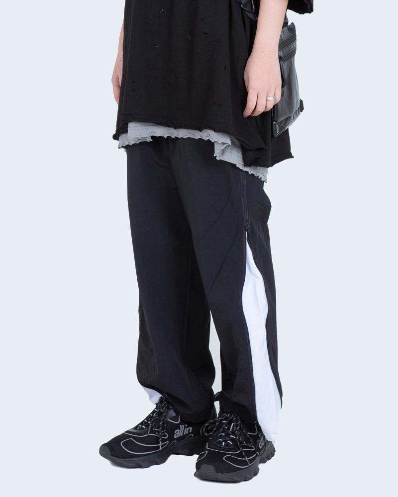 东条纹韩国代购拉链潮嘻哈ins街头大门侧男女抽绳束脚阔腿休闲裤
