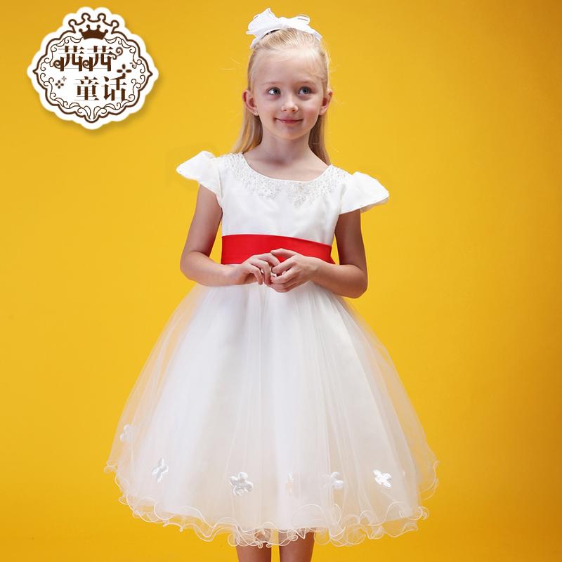 efa30eb75 USD 106.98  Princess skirt girl Pompon host dress flower girl dress ...