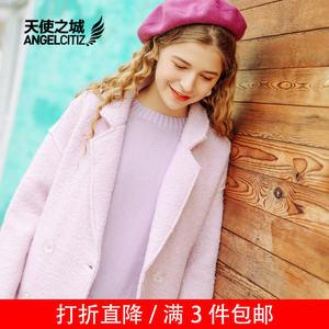 天使之城长大衣62160322冬季外套女大衣女中长款毛呢外套女