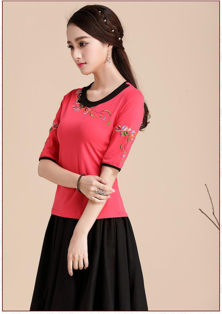 Trung quốc phong cách của phụ nữ mùa hè ăn mặc gió quốc gia áo sơ mi thêu ngắn tay T-Shirt nữ nửa tay kích thước lớn mỏng thêu áo sơ mi