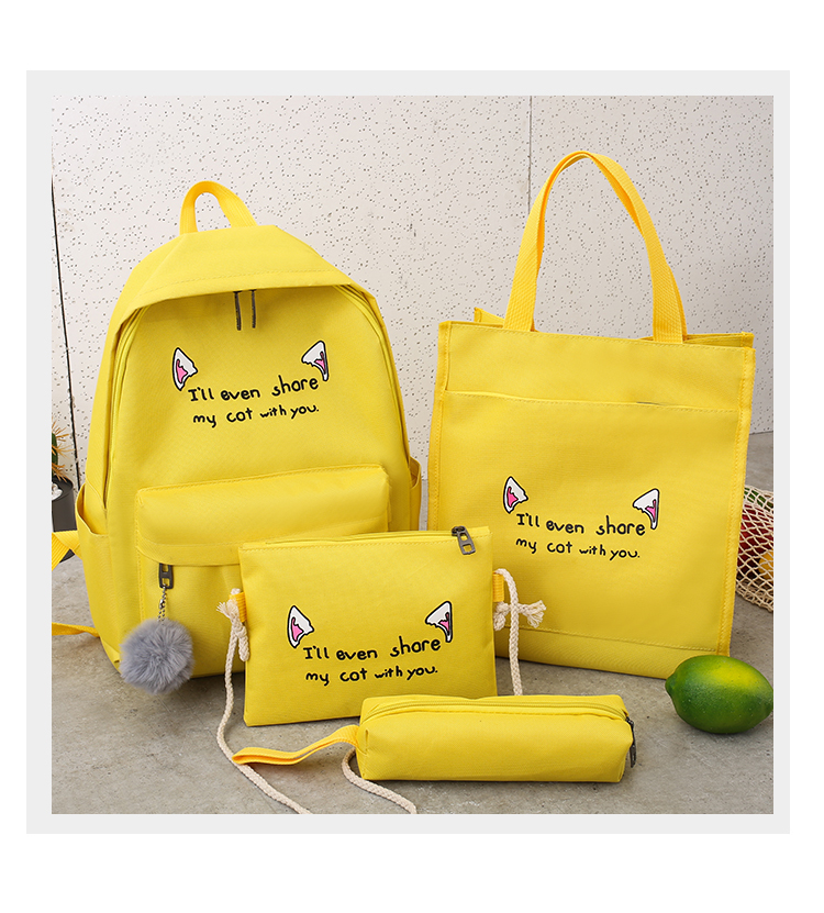 Cute WeekendTravel Bag School Backpack for Girls Canvas Fashion Casual Four Piece Set Letter Bags Yellow one size 33