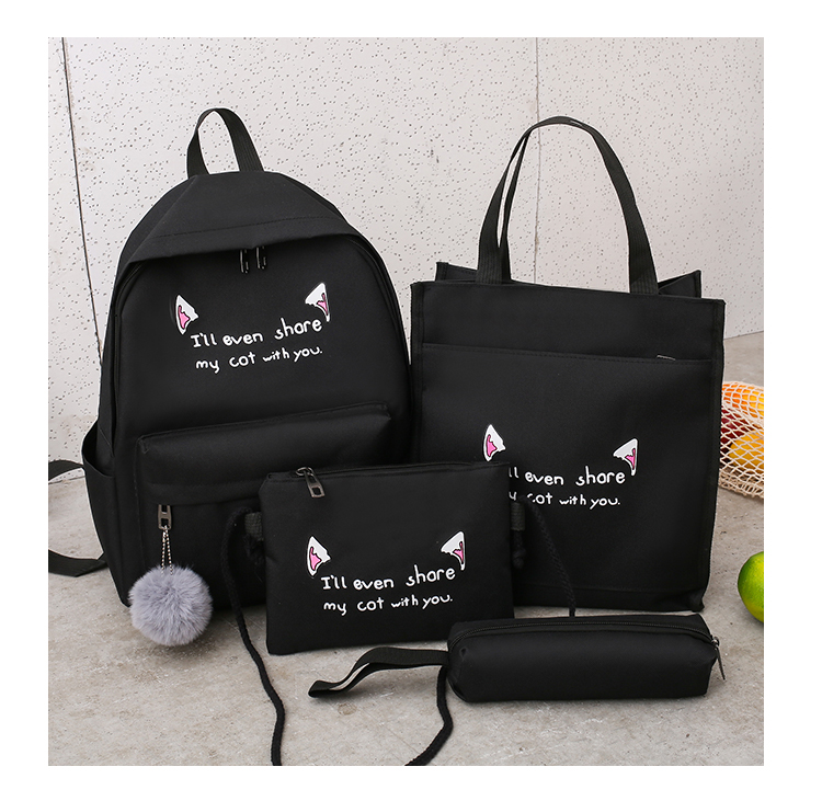 Cute WeekendTravel Bag School Backpack for Girls Canvas Fashion Casual Four Piece Set Letter Bags Yellow one size 29