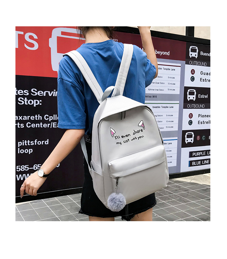 Cute WeekendTravel Bag School Backpack for Girls Canvas Fashion Casual Four Piece Set Letter Bags Yellow one size 16