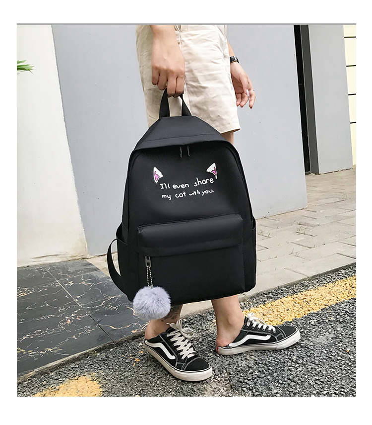 Cute WeekendTravel Bag School Backpack for Girls Canvas Fashion Casual Four Piece Set Letter Bags Yellow one size 12