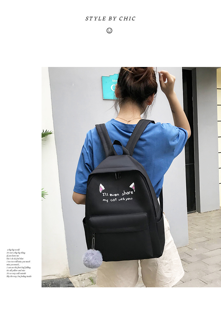 Cute WeekendTravel Bag School Backpack for Girls Canvas Fashion Casual Four Piece Set Letter Bags Yellow one size 10