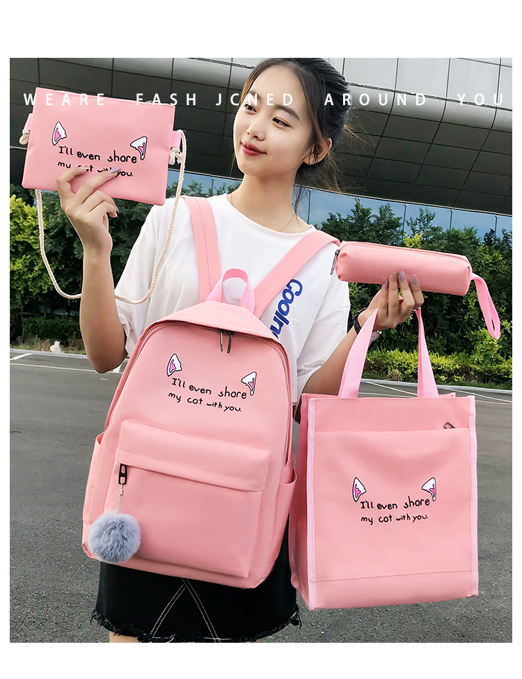 Cute WeekendTravel Bag School Backpack for Girls Canvas Fashion Casual Four Piece Set Letter Bags Yellow one size 1