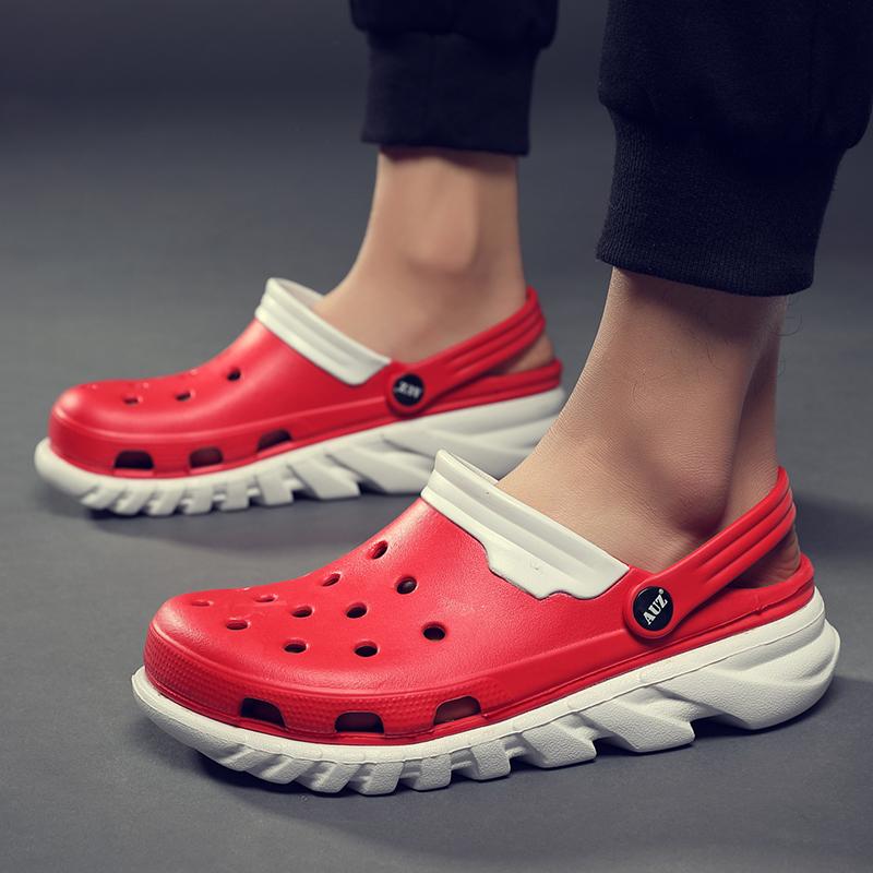 版潮流个性洞洞鞋防滑软底男士凉鞋沙滩鞋