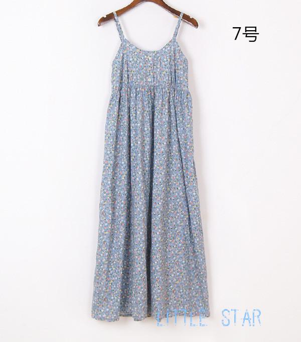 日系森女宽松感棉布碎花吊带长裙纯棉印花A字连衣裙度假风沙滩裙
