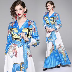 实拍现货-欧美时尚收腰显瘦系带定位印花大摆连衣裙