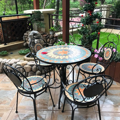 European wrought iron balcony courtyard outdoor terrace outdoor bar cafe leisure garden table and chair combination three-piece set