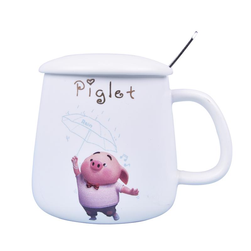 兒童家用燕麥牛奶創意馬克杯帶蓋勺日式陶瓷水杯子可愛卡通少女心