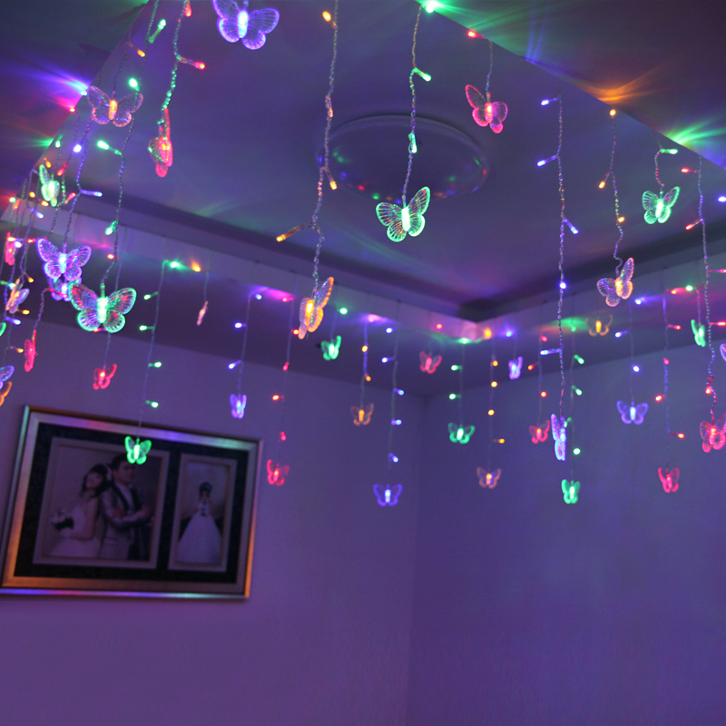 Curtain lights string room decoration star lights led lights flashing  lights string lights gypsophila birthday layout butterfly lights