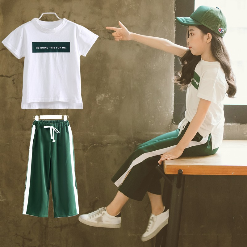 Girls summer dress 2018 new fashion suit fashion big children's clothing ocean wide leg pants two sets of tide clothes