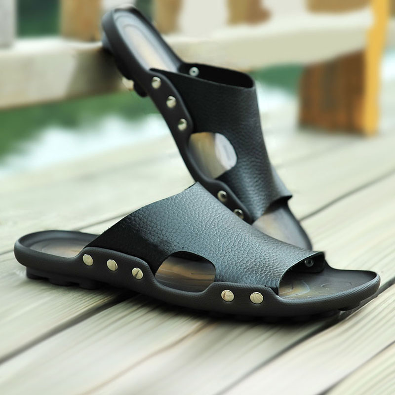 Мужской шлепанцы натуральная кожа слово торможение 2018 новый сандалии мода на открытом воздухе прохладно торможение мужчина кожа торможение лето верхняя одежда шлепанцы