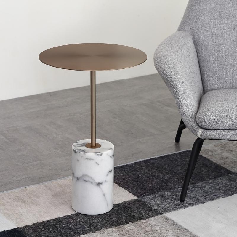 大理石边几北欧现代简约沙发设计师样板房阳台客厅咖啡厅小角几圆