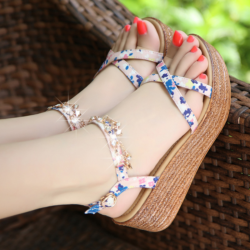 2a45a440f Bohemian slope with sandals female Summer 2019 New thick platform shoes  Rhinestone sweet students shoes high · Zoom · lightbox moreview · lightbox  moreview ...