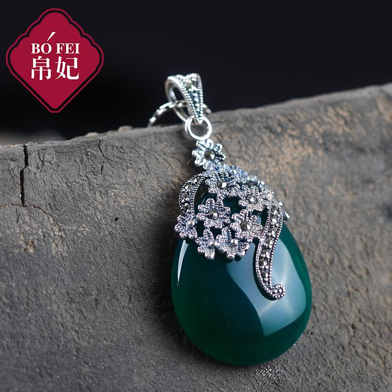 帛妃925银饰品吊坠项链女士民族风复古玛瑙玉髓石榴石母亲节礼物