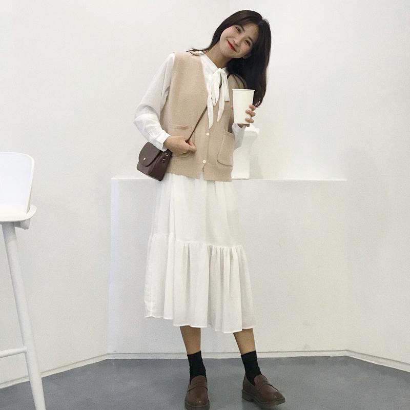 套装针织衫很仙法国件套两小众秋季时尚女装中长款显瘦连衣裙马甲