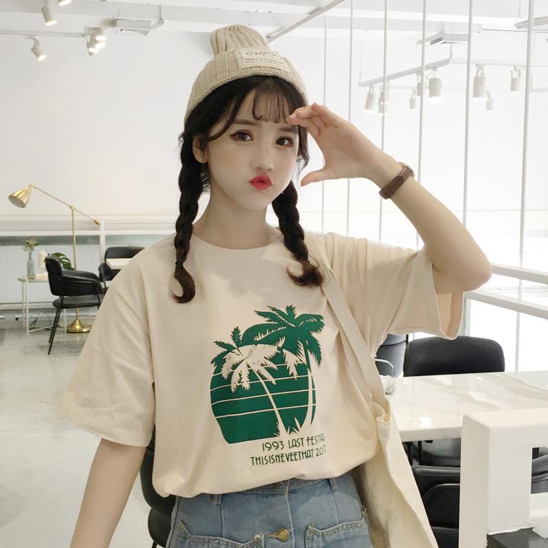 可可里小姐店铺酷酷的女装风简约印花短袖椰树学生打底衫上衣韩国
